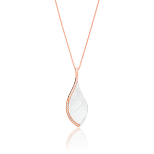 Sterling Silver Rose Gold Plated MOP & CZ Pendant + Chain