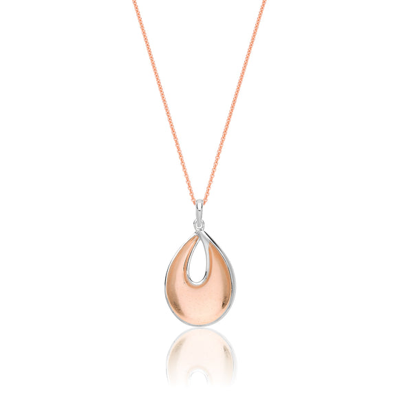 Sterling Silver Rose Gold Plated Pendant + Chain