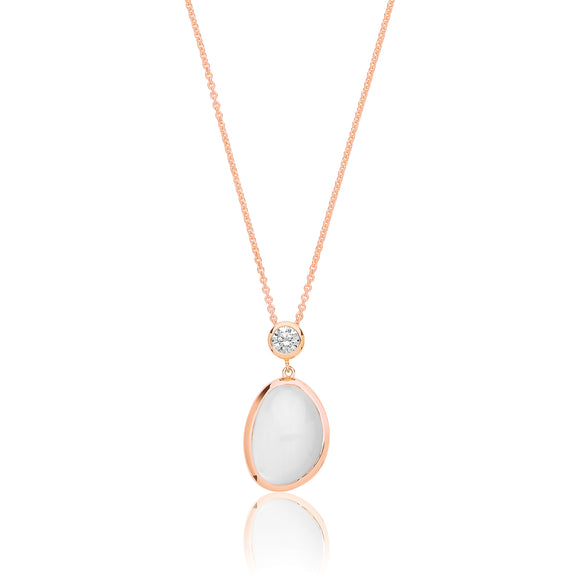 Sterling Silver Rose Gold Plated White Moon Stone & CZ Pendant + Chain