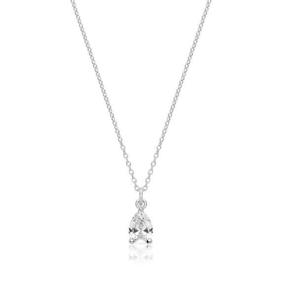 Sterling Silver Pear Shaped CZ Pendant + Chain