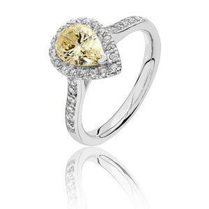 Sterling Silver Pear Shape Halo Yellow CZ Ring