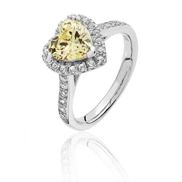 Sterling Silver Heart Halo Yellow CZ Ring