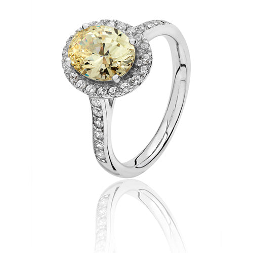 Sterling Silver Oval Halo Yellow CZ Ring