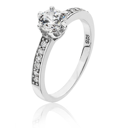 Sterling Silver Solitaire CZ With CZ Set Shoulders Dress Ring