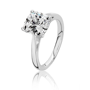 Sterling Silver 8mm Solitaire Cushion CZ Ring