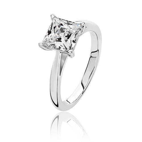 Sterling Silver Solitaire 7mm Princess Cut CZ Ring