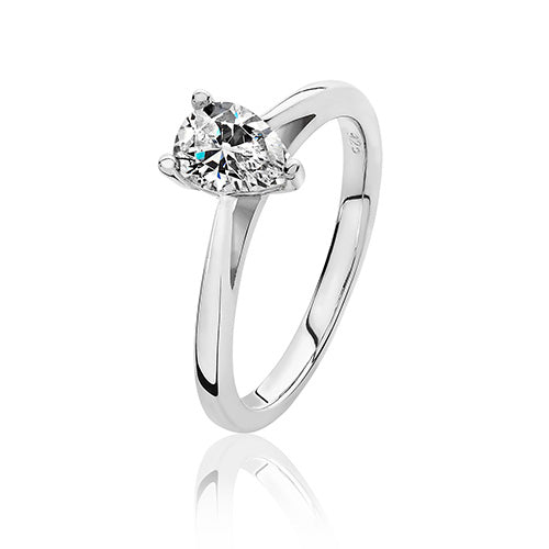 Sterling Silver Solitaire Pear CZ Ring