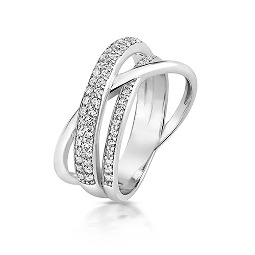 Sterling Silver Crossover CZ Ring
