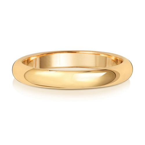 9ct Yellow Gold 3mm D Shaped Wedding Ring