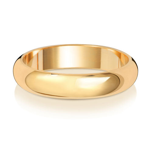 9ct Yellow Gold 4mm D Shaped Wedding Ring