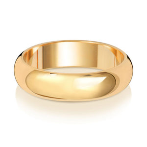 9ct Yellow Gold 5mm D Shape Wedding Ring
