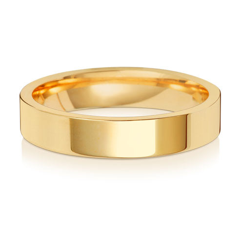 9ct Yellow Gold 4mm Flat Court Wedding Ring