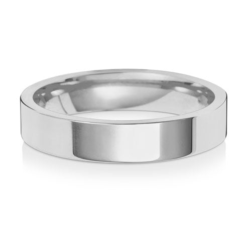 9ct White Gold 4mm Flat Court Wedding Ring
