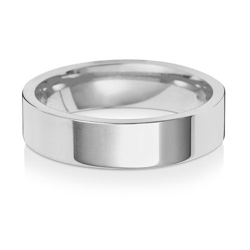 9ct White Gold 5mm Flat Court Wedding Ring