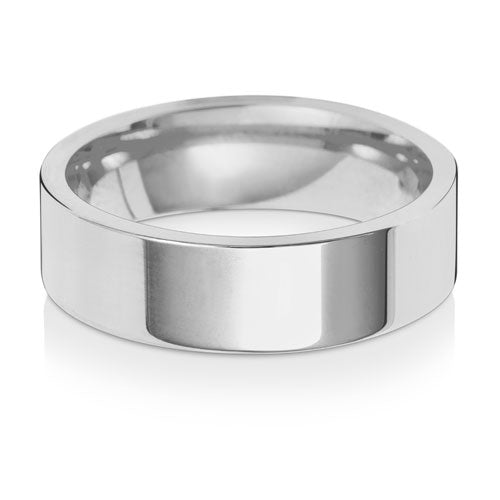 9ct White Gold 6mm Flat Court Wedding Ring