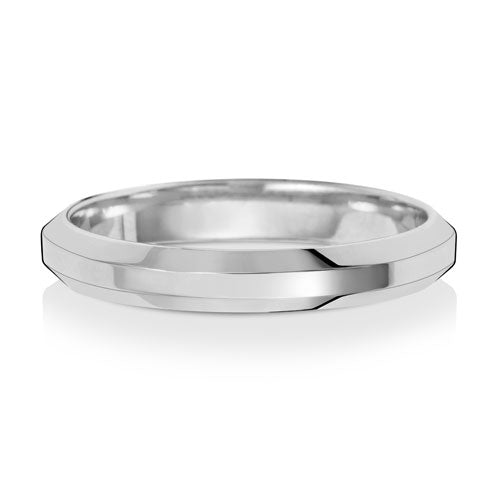 9ct White Gold Soft Court Bevelled Edge 3mm Wedding Ring
