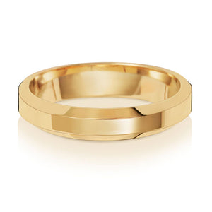 9ct Yellow Gold 4mm Soft Court Bevelled Edge Wedding Ring