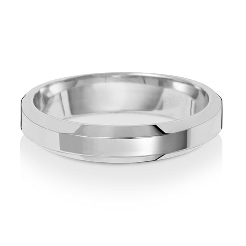 9ct White Gold 4mm Soft Court Bevelled Edge Wedding Ring