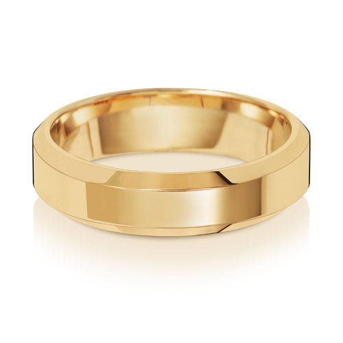 9ct Yellow Gold 5mm Soft Court Bevelled Edge Wedding Ring