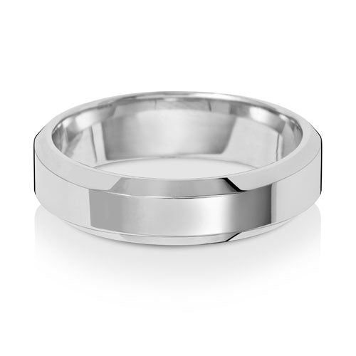 9ct White Gold 5mm Soft Court Bevelled Edge Wedding Ring