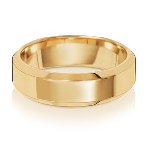 9ct Yellow Gold 6mm Soft Court Bevelled Edge Wedding Ring