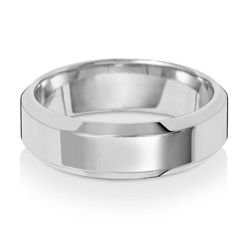 9ct White Gold 6mm Soft Court Bevelled Edge Wedding Ring