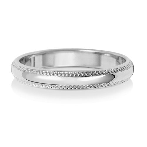 9ct White Gold 3mm D Shape Millgrain Wedding Ring
