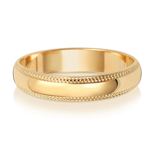9ct Yellow Gold 4mm D Shape Millgrain Wedding Ring