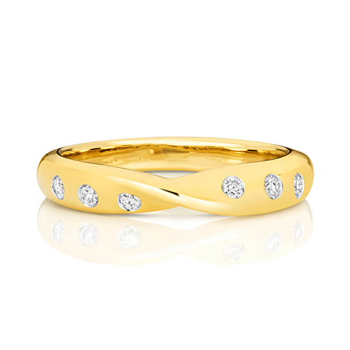 9ct Yellow Gold Diamond Set Crossover Ring