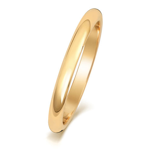 18ct Yellow Gold D Shaped 2mm Wedding Ring