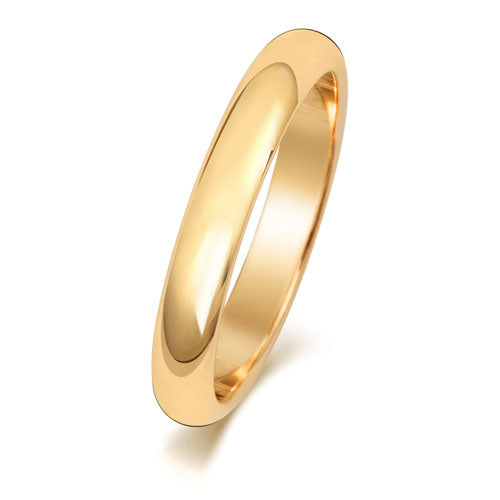 18ct Yellow Gold 3mm  D Shaped Wedding Ring