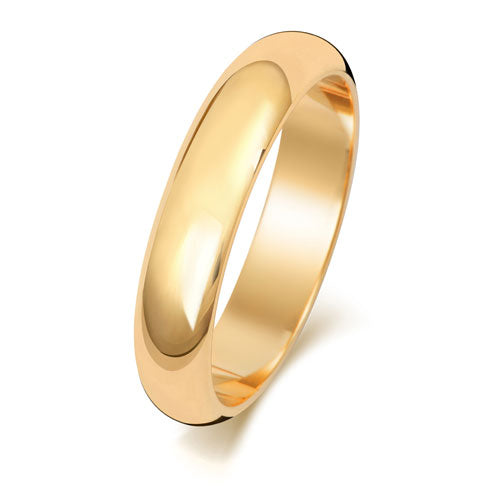 18ct Yellow Gold 4mm D Shaped Wedding Ring