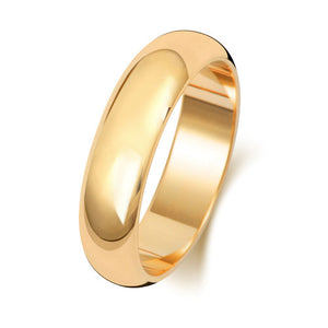 18ct Yellow Gold 5mm D Shaped Wedding Ring