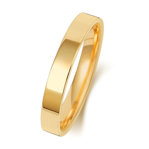 18ct Yellow Gold 3mm Flat Court Wedding Ring