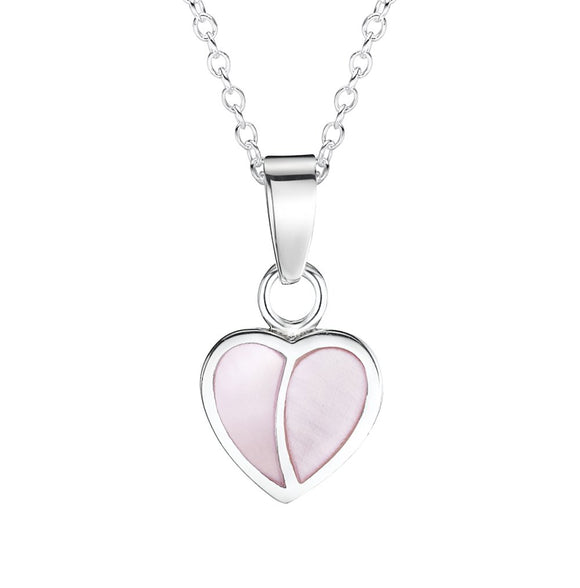 Jo For Girls sterling silver mother of pearl heart pendant