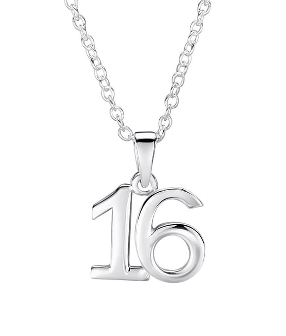 Jo For Girls sterling silver number '16' pendant