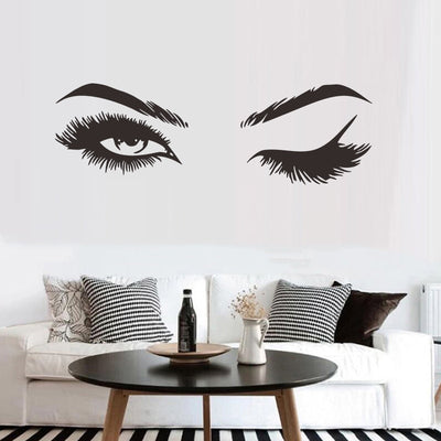 Eyelash Decal on wall front view
