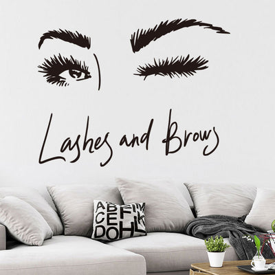 Lashes and Eyebrow Decal in Reception Area