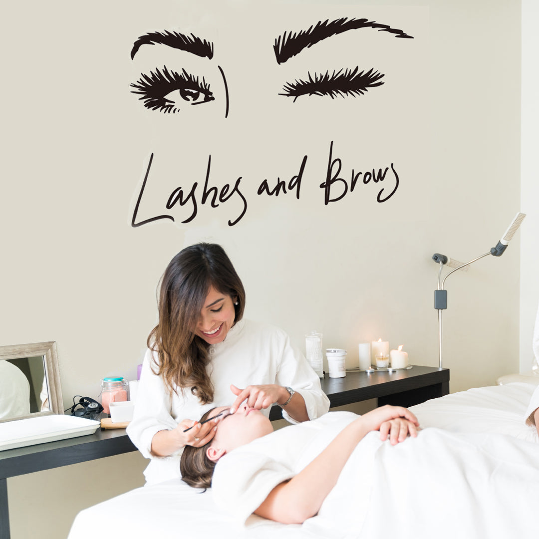 Lashes and Brows Wall Decal in Salon