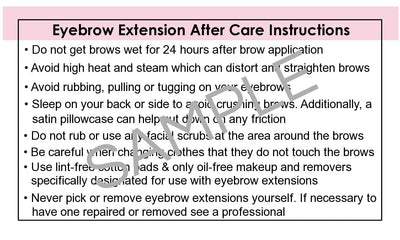 Brow Care Instructions & Appointment Card - 25 per Quantity