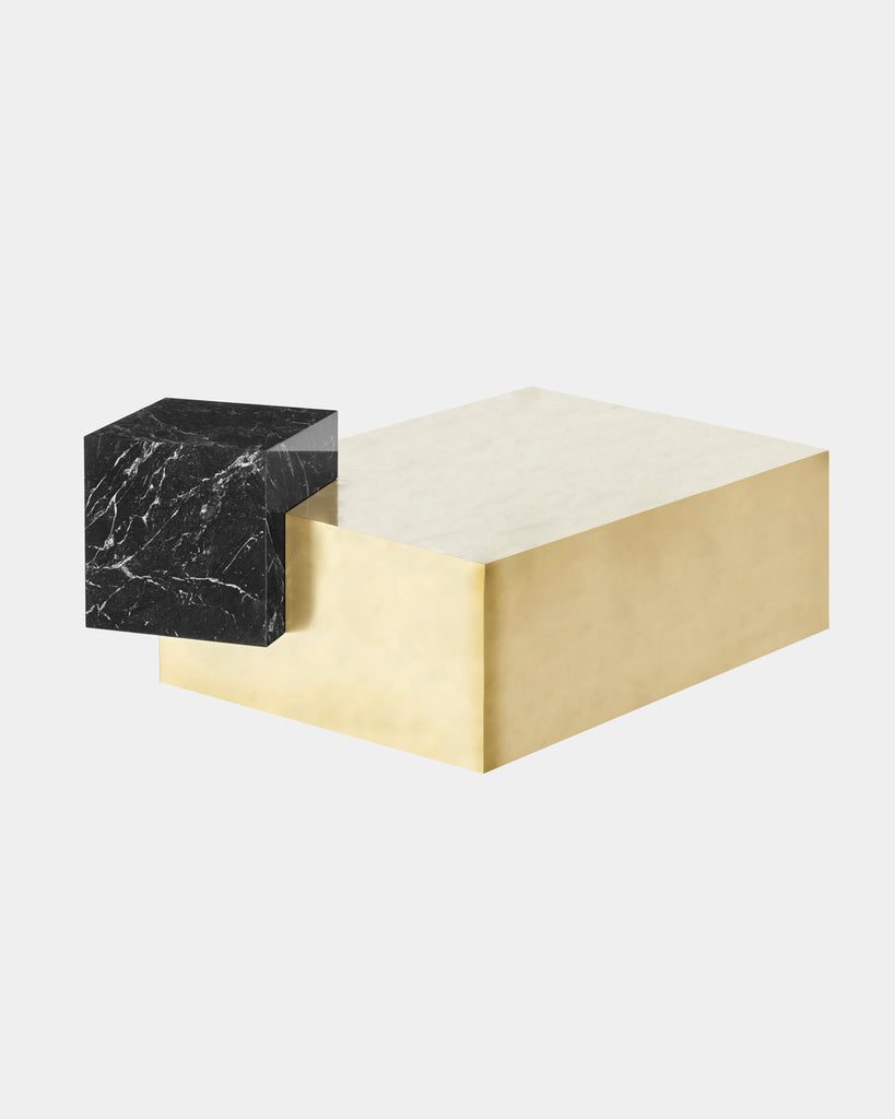 Brass rectangular base, black nero marquina marble cube top coffee table.