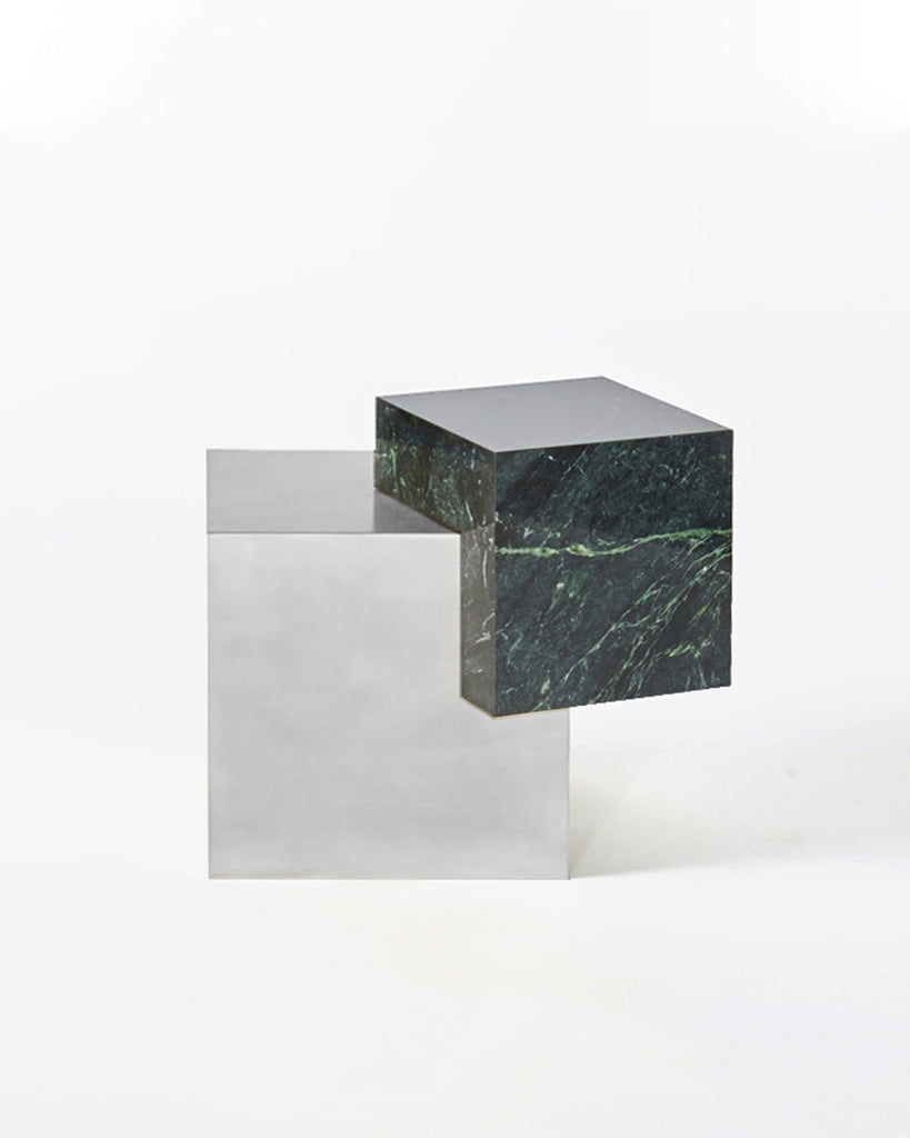 Stainless steel cube base, green empress marble cube top side table.