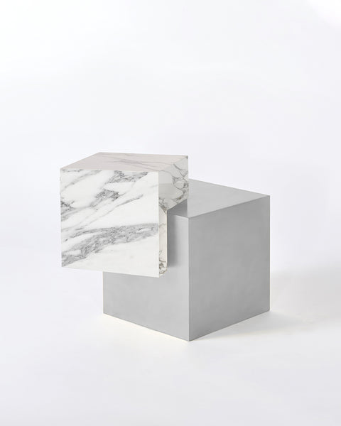 Stainless steel cube base, white Carrara marble cube top side table.