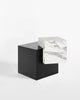 Blackened steel cube base, white carrara marble cube top side table.