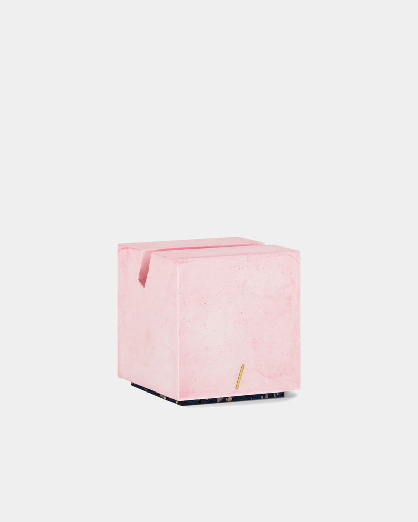 Pink cube card holder back angle view.