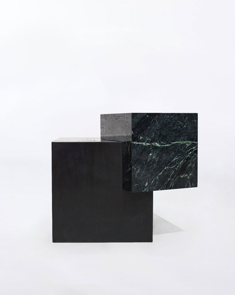 Blackened steel cube base, green empress marble cube top side table.