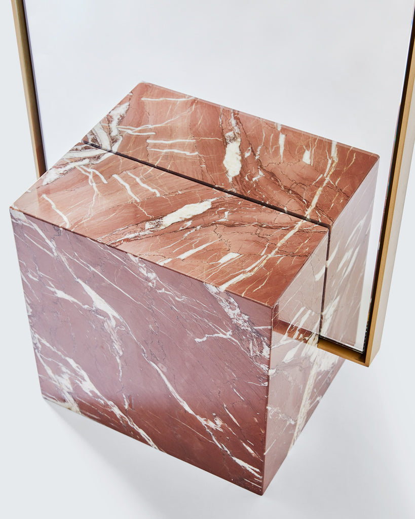 Cube base detail image of standing mirror with red jasper marble base and brass mirror frame
