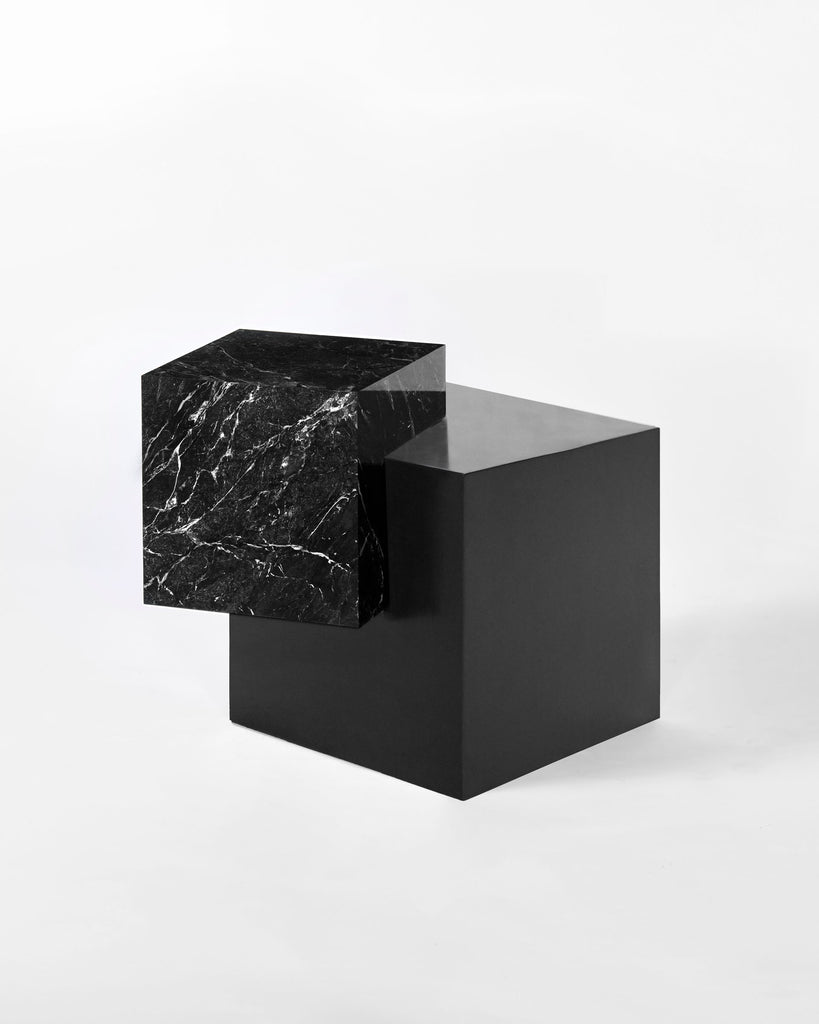 Blackened steel cube base, black nero marquina marble cube top side table.