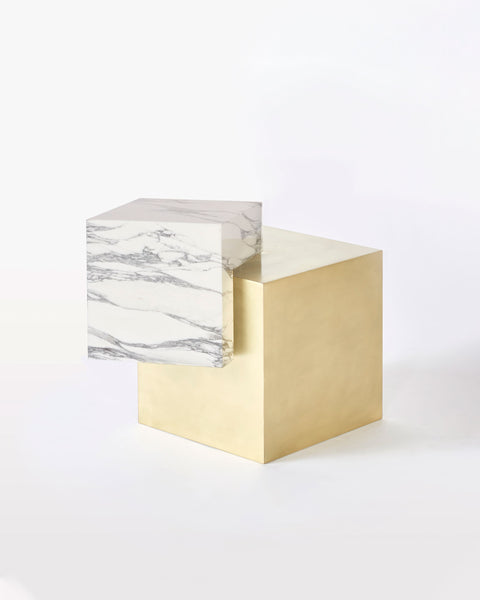 Brass cube base, white Carrara marble cube top side table.