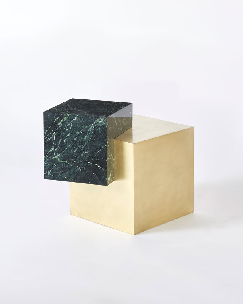 Brass cube base, green empress marble cube top side table.